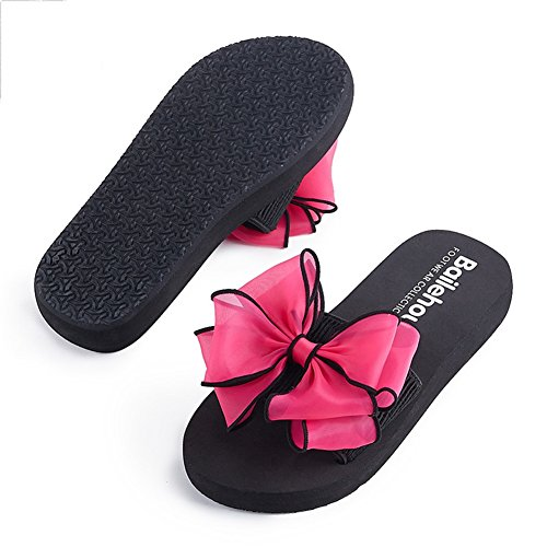 papillon Beauty Chaussures Sauvage Mer Sandales Nœud leader Cool d'été plage 3cm Antidérapant de Saison épais Fond Lightweight Slipper 001 Femmes rrqa0