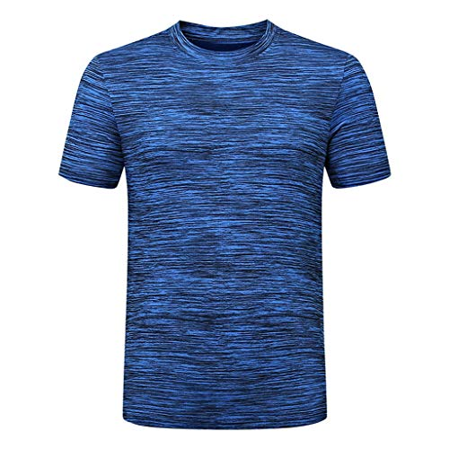Men's Casual T Shirts Summer Crewneck Short Sleeve Fast-Dry Tee Sport Fitness Comfort Breathable Top Blue