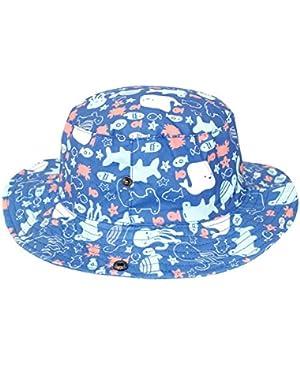 Baby Bucket Hat Soft Cotton Sun Protection Fishman Cap with Chin Strap Ocean Fun