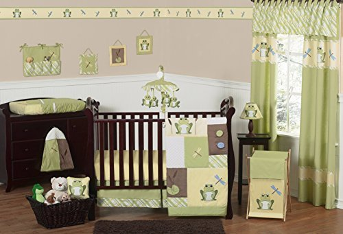 Sweet Jojo Designs 11-Piece Yellow and Green Leap Frog Baby Boy Girl unisex Bedding Crib Set Without (Frog Crib Bedding Sets)