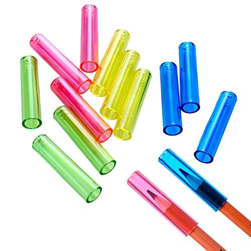 24 pcs Pencil Tip Cover,Transparent Plastic,Brush Cosmetic Protection, Crayon Tip,Pencil Extender Holder for School Classroom/Office,Pencils Protective Cap,Pencil Top Cover4 Colors x 6 pcs