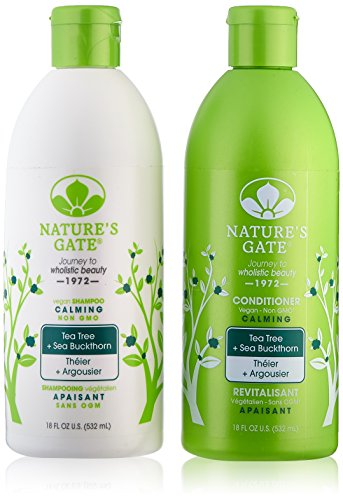 Nature's Gate Tea Tree Calming for Irritated, Flaky Scalp, Duo Set Shampoo & Conditioner, 18 Oz Each Bottle Natures Gate Tea Tree Conditioner