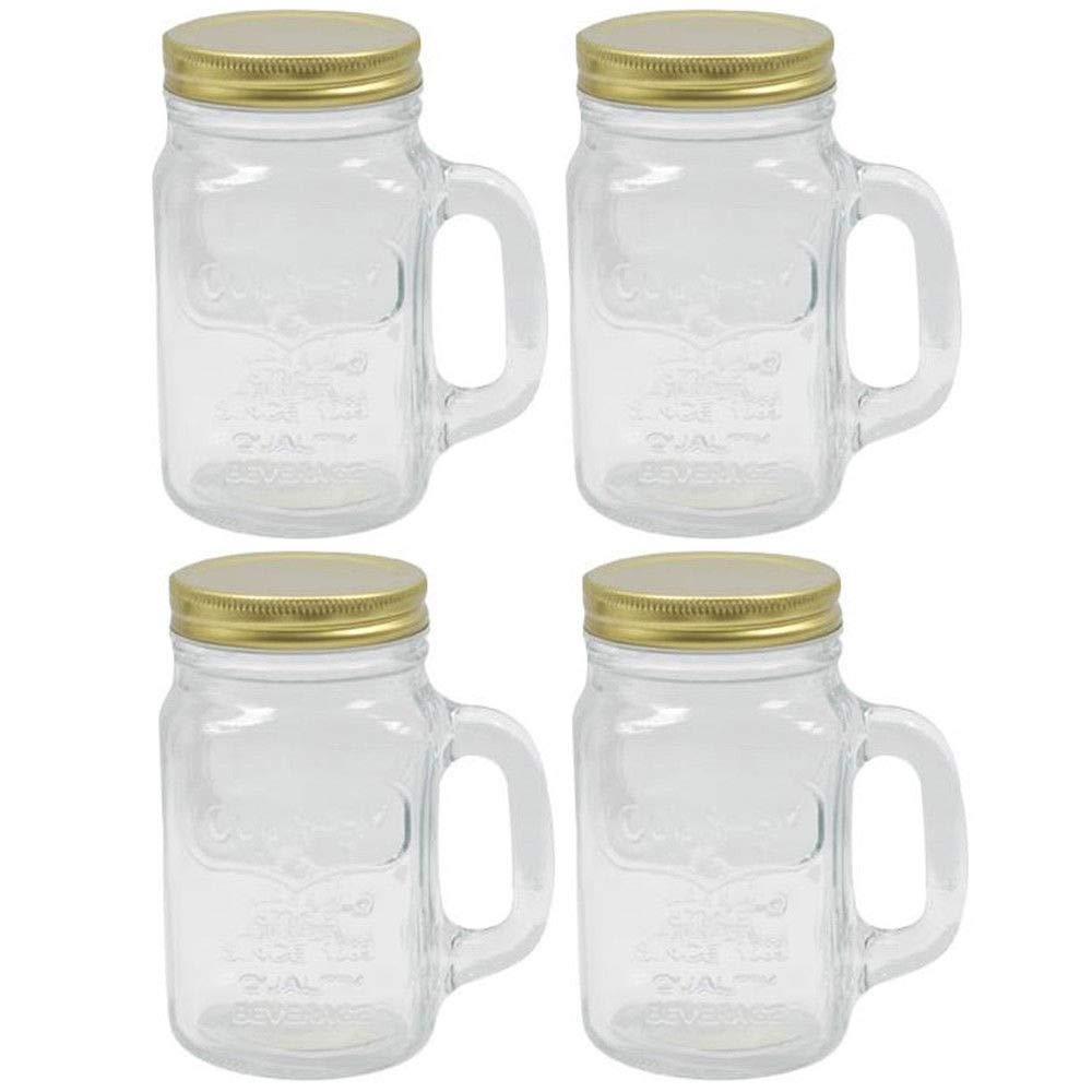 4 Mason Jar With Handle Mug Rustic Bridal Wedding Drinking Clear Glass 16oz New