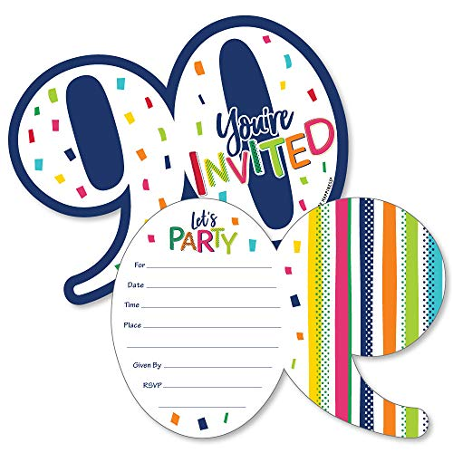 90th Birthday - Cheerful Happy Birthday - Shaped Fill-In Invitations - Colorful Ninetieth Birthday Party Invitation Cards with Envelopes - Set of 12