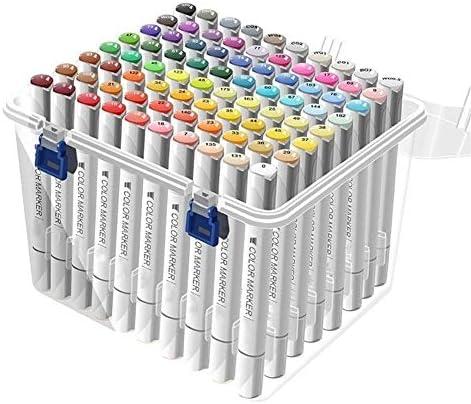 80色の描画ぬりえの強調表示のための黒いツインマーカーアーキテクチャの設計と下線マーカーペンとキャリーバッグ クリーンカラー (Size : Student)