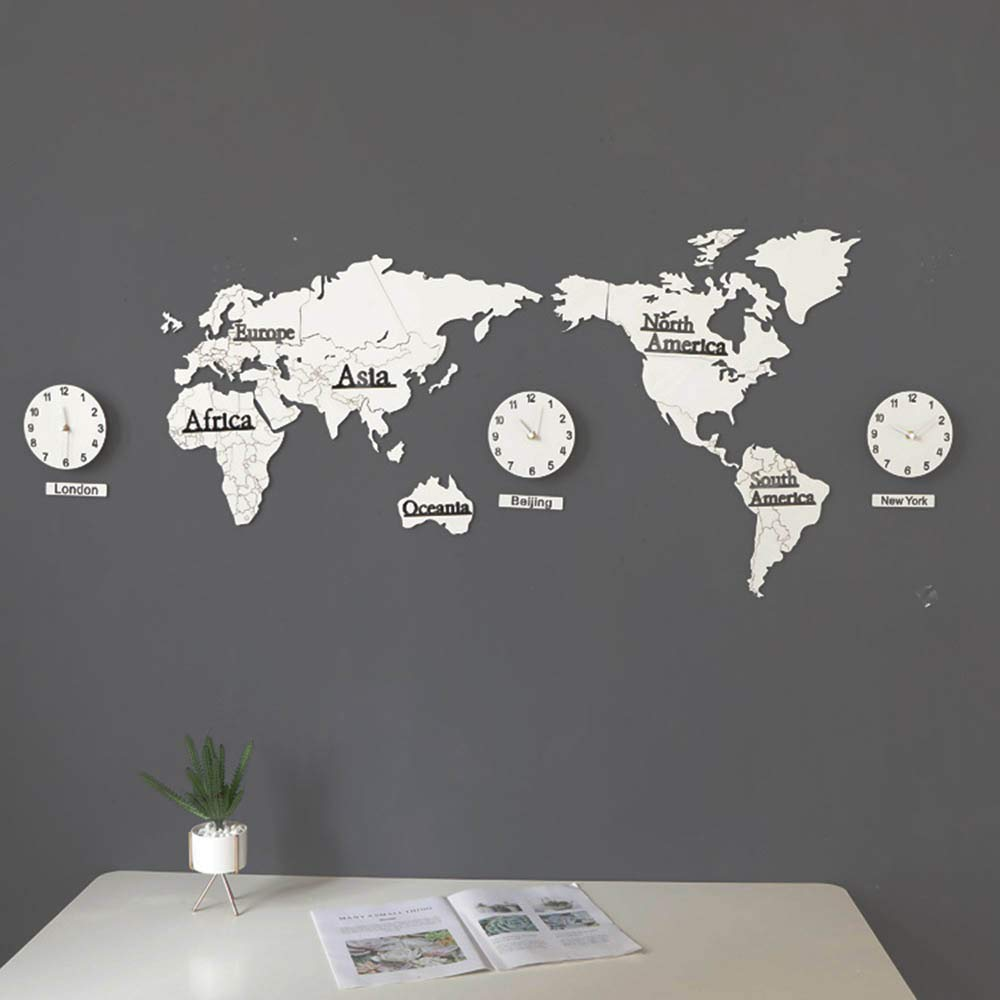 JIANword Wall Clock 3D Three-Dimensional World Map Walking Time Quasi-Low Energy Consumption Ultra-Quiet Non-Deformed Solid Wood Wall Clock Laser Cutting (130Cm),6