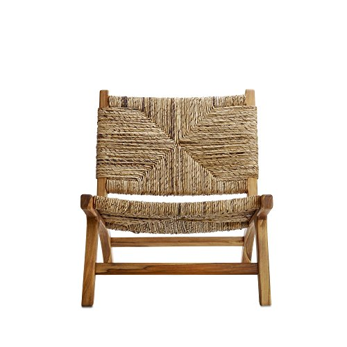 Design Ideas Copenhagen Chair, Mahogany Wood Chair with Woven Banana Bark Seat