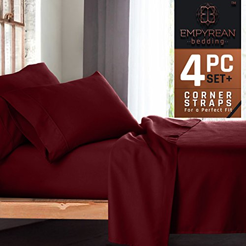 Premium 4-Piece Bed Sheet & Pillow Case Set – Luxurious & Soft Twin (Single) Size Linen, Extra Deep Pocket Super Fit Fitted Burgundy Red Sheets - Red Single Set