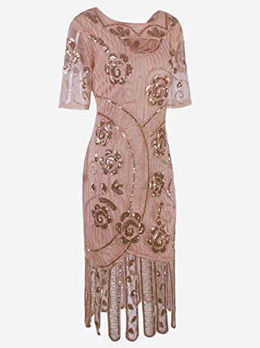 with Sleeves Party Beige Floary Dresses Women Vijiv Flapper Cocktail 1920s Dress Beaded Gatsby Vintage pCwBHz
