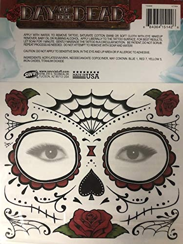 f7dde578c Amazon.com : Day Of The Dead Sugar Skull Temporary Face Tattoos (RED ROSE)  : Beauty