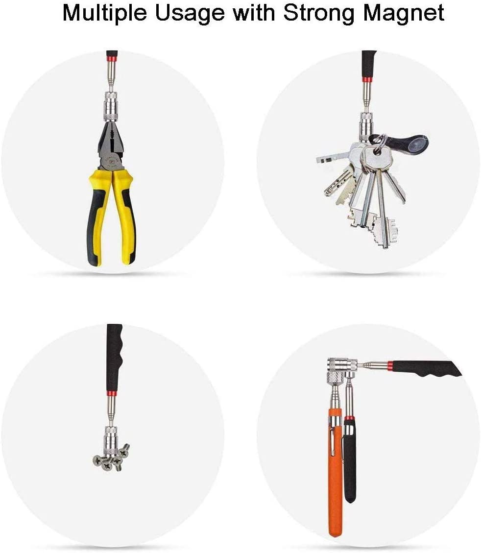 With LED Light Dasing 6 Pieces Magnetic Pick-Up Grabber Tool Including 15 Lb// 10 Lb// 8 Lb// 1.5 Lb Pick-Up Sticks and 360 Swivel Inspection Mirror and Round//Square Inspection Mirror