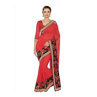 2a38cfaac809c8 Amazon.com: Desi Butik Embroidered Fashion Georgette Saree (Red): Clothing