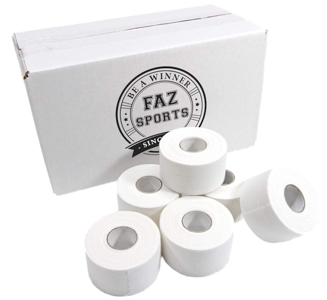 FAZ Sports White Athletic Tape -Trainer & Therapist Choice Premium 1.5'' x 30' 32 Rolls per Case. Made in USA by FAZ BRAND