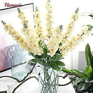 ShineBear 90cm Delphinium Silk Flower Artificial Europe Style Wedding Hyacinth White Artificial Flowers Bouquet for Home Party Decoration 52