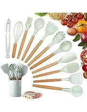 KagoLing Köksredskapsset silikon köksredskap, premium värmebeständiga köksbakningsset inklusive borste, tång, spatel, visp, skedel, slitsad sked, pastataffel, svarvarv, slev