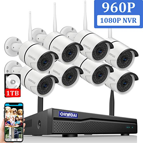 【2019 Newest】OHWOAI Security Camera System Wireless, 8CH 1080P NVR,8Pcs 960P HD Outdoor/ Indoor IP Cameras,Home CCTV Surveillance System(1TB Hard Drive)Waterproof,Remote Access,Plug&Play,Night Vision. (Best Home Ip Camera 2019)