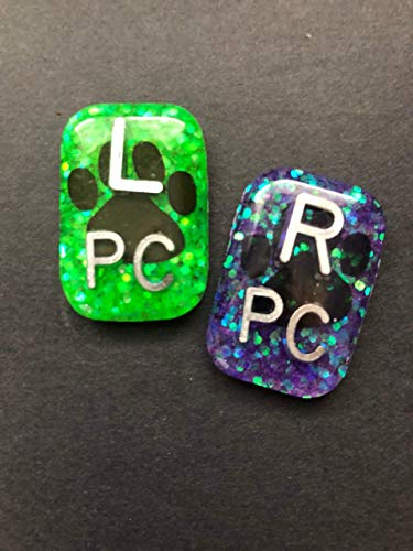 (Paw Print Xray Markers, Dog, X-ray Markers, 2 or 3 Initials, Glitter, Pet )