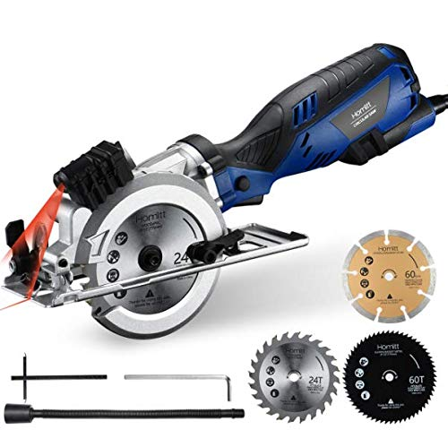 Circular Saw, Homitt 5.8A 3500RPM Compact Saw with Laser Guide, 3 Saw Blades(4-1/2″), Max Cutting Depth 1-11/16″(90°), 1-1/8″(45°), Ideal for Soft Metal, PVC, Wood, Tile and Plastic Cuts