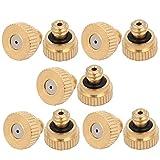 uxcell 0.8mm Orifice Dia 9mm Long Brass Mist Nozzle Gold Tone 10pcs