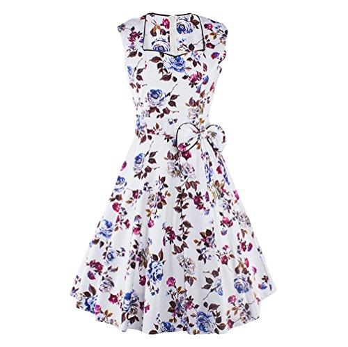 Cocktail DAROJ Retro Rockabilly Bridesmaid Dress Purple 60s Swing Sleeveless Floral 50s pT6pwU
