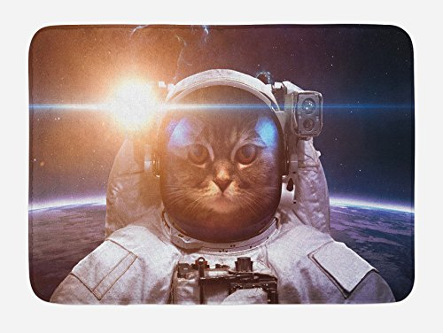 """Ambesonne Space Cat Bath Mat, Brave Astronaut Kitty in Space Suit Above World with Lunar Eclipse Backdrop, Plush Bathroom Decor Mat with Non Slip Backing, 29.5"""" X 17.5"""", White Blue"""