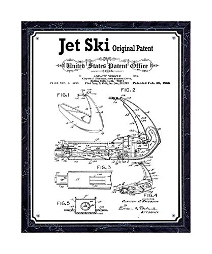 Original Jet Ski patent printed on metal plate, mounted on black marble-finish wooden plaque