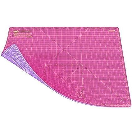 ANSIO A2 autoguarigione a Doppio Lato 5 Strati di Taglio Mat Imperiale/metrica da 17 Pollici x 22.5 pollici/44 cm x 59 cm-Super Pink/Viola Lavanda