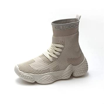 YAN Calcetines de Mujer Booots Spring & Fall Knit para Mujer Street Dance High-Top