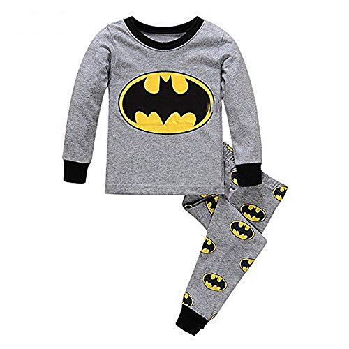Meteora Boys Dinosaur Pajamas 2 Piece Set Long Sleeve Sleepwear 100% Cotton 2-7T (Batman, 5T)