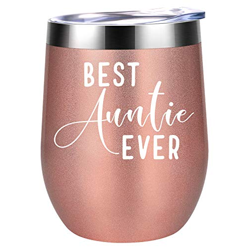 Best Auntie Ever - Aunt Gifts - Funny Birthday, Mother's Day, Christmas Gift for Aunts - Coolife Stainless Steel Novelty Wine Tumbler Insulated Stemless Sippy Cup with Lid