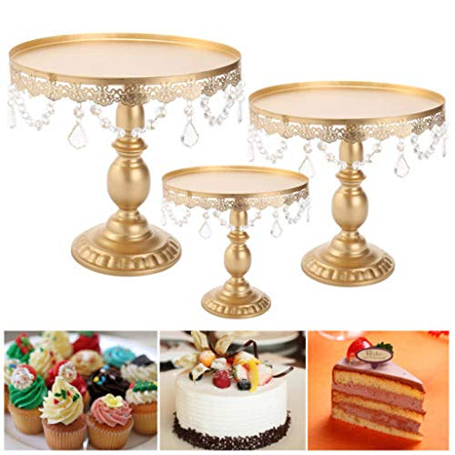 LLJEkieee Antique Gold Iron Cake Stand Metal Wedding Party Display Crystal Beads And Gorgeous Dangles For Weddings, Parties, Birthday Parties (L)