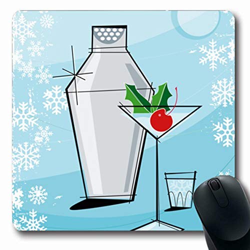 (Ahawoso Mousepad for Computer Notebook Winter Blue Cocktail Retrostylized Holiday Martini Snowflake Christmas Party Retro Vintage Xmas Bar Oblong Shape 7.9 x 9.5 Inches Non-Slip Gaming Mouse Pad)