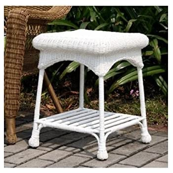 This Item Wicker Lane Outdoor White Wicker Patio Furniture End Table
