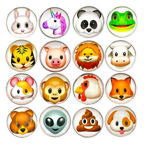 16 Pcs Refrigerator Magnets 3D Emoji Fridge WhiteBoard Cute Dry Erase Board Magnetic Lockers for School Home Office Kitchen Decorative Fun Cartoon Smile Face Gift (Animal)