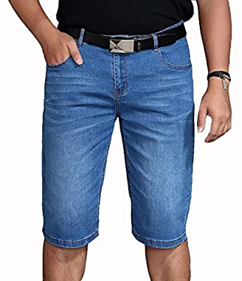 Allonly Men's Light Blue Stylish Casual Relaxed Fit Stretch Denim Jean Short Plus Size Big And Tall