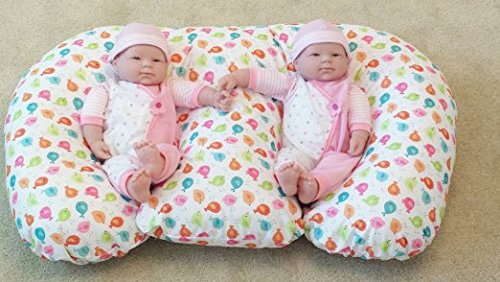 THE TWIN Z PILLOW - Waterproof BIRDIES Pillow - The only 6 in 1 Twin Pillow Breastfeeding, Bottlefeeding, Tummy Time & Support! A MUST HAVE FOR TWINS! - No extra cover by Twin Z PIllow (Image #2)