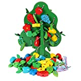 Wooden Fruit Christmas Ornament Gift Green Tree Threading Stringing Beads Building and Play Blocks Toy Baby, Tree+1Storage Bag