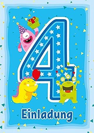 6 Einladungskarten 4. Kindergeburtstag Jungen Mädchen Lustige Monster  Vierte Geburtstag Geburtstagseinladungen Einladungen Geburtstagsparty  Kartenset