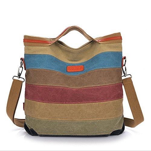 Melodyep B176 Stripe Mosaic Canvas Handbags Handbag Shoulder Bag Messenger Bag Doctors