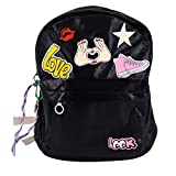 Kennedy New Fashion PU Leather Letter Stickers Oversize BackPack Leisure Backpack Student Backpack(black)