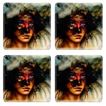 Luxlady Natural Rubber Square Coasters Image ID: 41946377 woman portrait with ornament tattoo on face and feathers jewels And fire clouds background