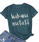 DUTUT Hakuna Matata T-Shirt Women Funny Adult Short Sleeve Letter Print Casual Tee T Shirt Size S (Green)