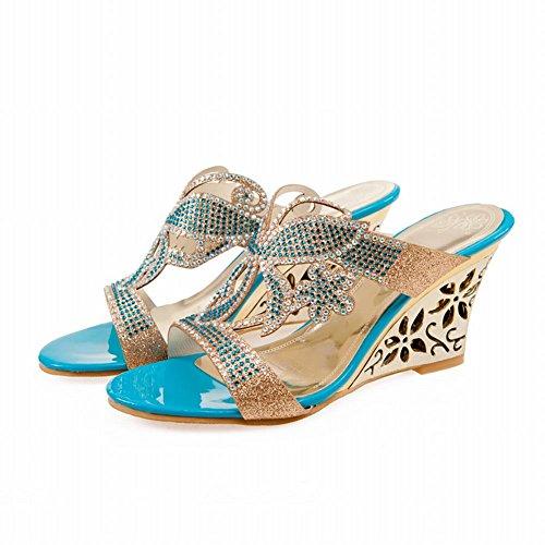 Carolbar Womens Shiny Chic Butterfly Shaped Strass Bling Bling Open Teen Gegraveerd Sleehak Sandalen Slippers Blauw