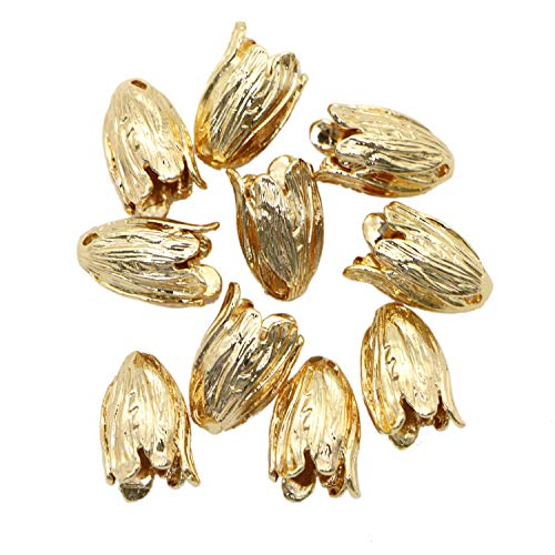 Monrocco 10pc Real Gold Flower Bead Caps 16 mm Petal Beads End Caps for Jewelry Making DIY Necklace Bracelets ()