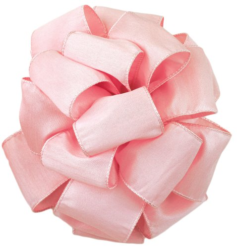 Offray Wired Edge Anisha Craft Ribbon, 4-Inch Wide by 10-Yard Spool, Light Pink