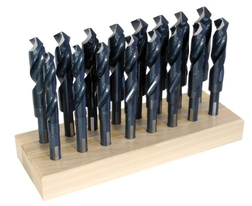 16 Split Point Drill Bit - Chicago Latrobe 190F High-Speed Steel Reduced Shank Drill Bit Set With Stand, Black Oxide, Round Shank with Flats, 118 Degree Split Point, 16-Piece