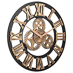 Gear Wall Clcok 16-Inch Silent Wall Wooden Clock French Country Tuscan Style Roman Numeral Design Clock Wall Decorative Clocks for Bedroom Living Room Bathroom Office Cafe