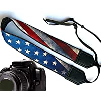US flag camera strap. Vintage American flag camera strap. Black DSLR / SLR Camera Strap. Durable, light weight and well padded camera strap. code 00009