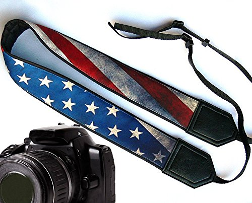 US flag camera strap. Vintage American flag camera strap. Black DSLR / SLR Camera Strap. Durable, light weight and well padded camera strap. code 00009 (Join Us For Halloween Party)