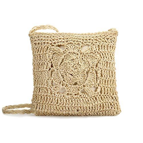Kadell Straw Crossbody Bag, Summer Beach Vintage Handmade Shoulder Bag Handmade Woven Handbag Straw Knitted Messenger Bag Off White M